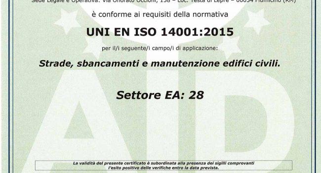 Certificazione di Qualità Norma UNI EN ISO 14001 2015
