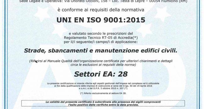 Certificazione di Qualità Norma UNI EN ISO 9001 2015 - 2016-10-06